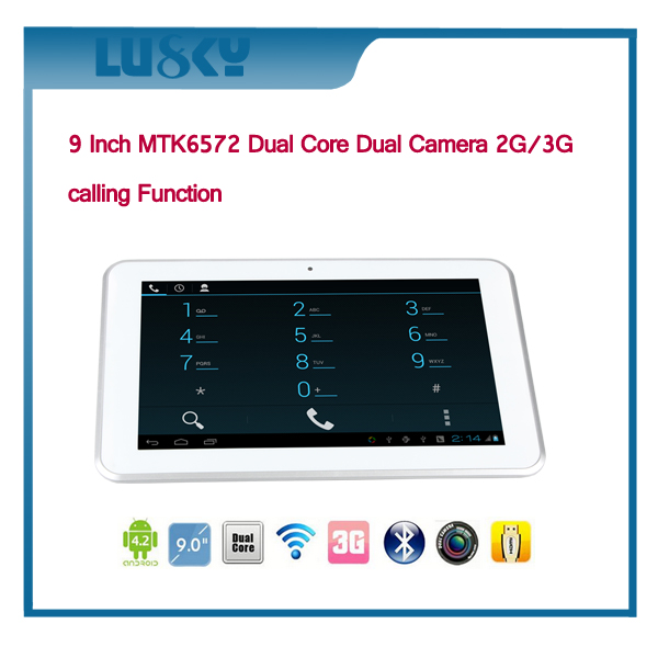MTK6572 Dual Core Cortex A7 Android 4.4 OS 9 Inch Android Smart Tablet PC with 3G function +Internet