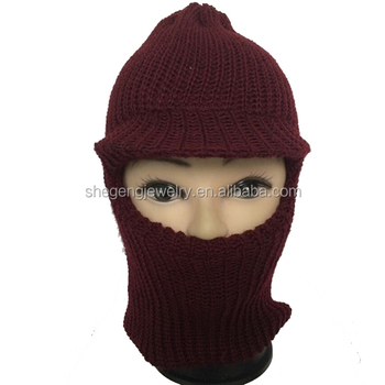 d8536cf5b26 Ski Face Balaclava Knit Mask One Hole Visor Sports Black Hats - Buy ...