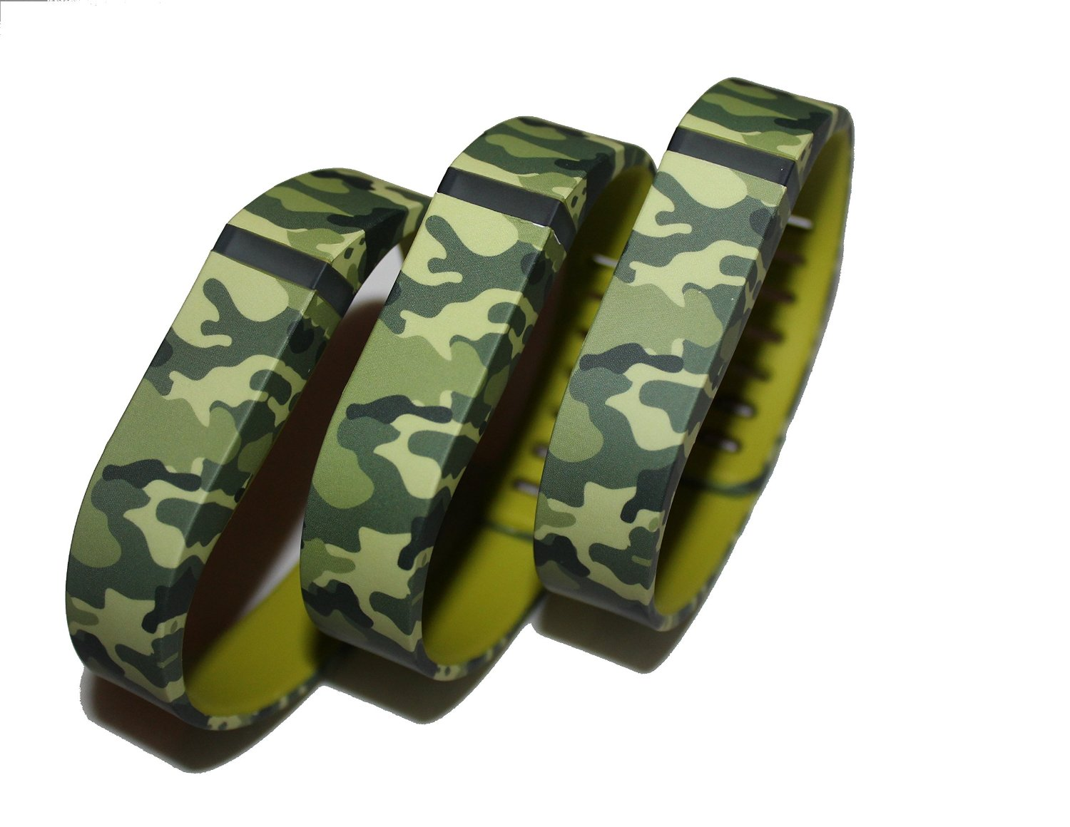 SUPTG Large 3pcs Camo Camouflage Army Wrist Bands For Fitbit Flex Bracelet (With Clasp , No Tracker) Replacement Bands Wireless Fitness Accessories Tracking Exercise Sport Activity