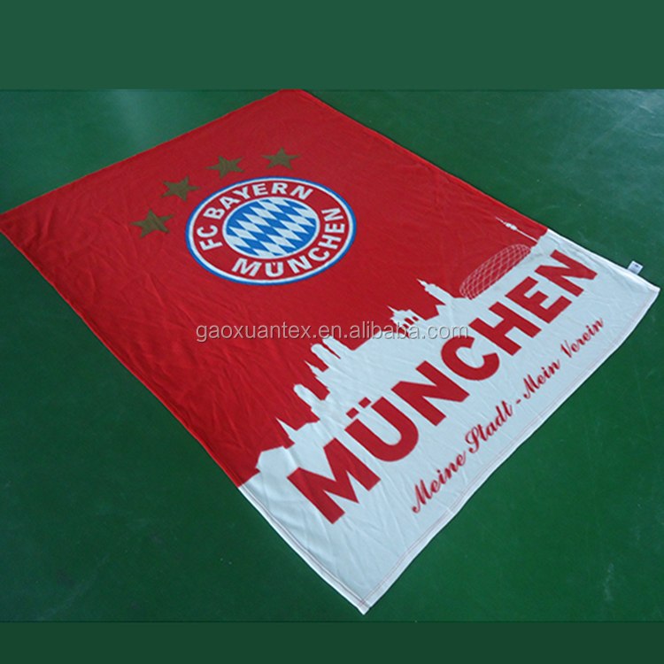 plate screen full printed customized logo brand polar fleece football club gift wholesale sports blanket