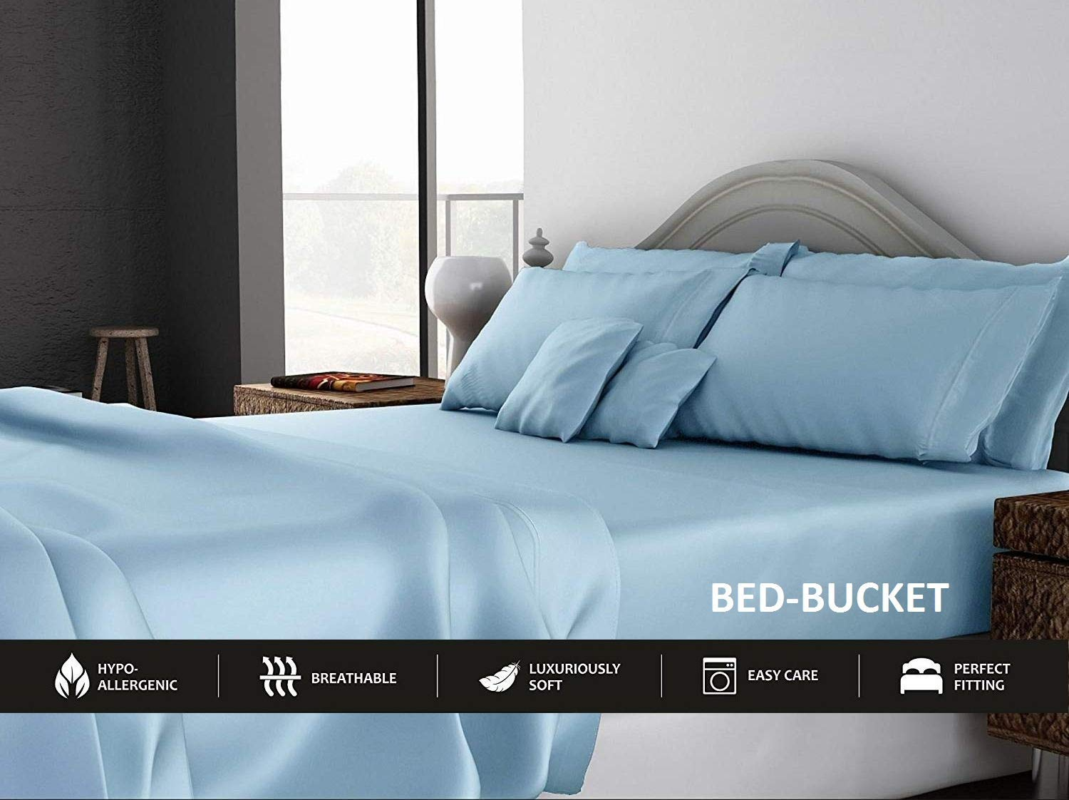 """Bed-Bucket 100% Natural Cotton 800-TC Hypoallergenic Design Wrinkle & Fade Resistant 60X75 inch Short Queen Size Sheet Set 4pcs with 12"""" Deep Pocket Fitted Sheet Light Blue Solid"""