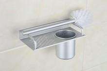 Космический алюминиевый Серебряный держатель для туалетной щетки с полкой хромированная стойка стеклянная чашка аксессуары для ванной ко...(Китай)