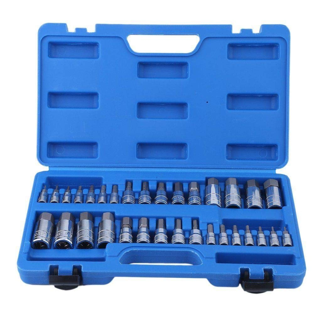 "Cypressshop Drive Sockets Set High Grade Chrome Vanadium Alloy Master Hex Keys Wrenches Tool Kit Set 32pc SAE Metric Socket Standard 1/4"" 3/8"" 1/2"" Power Tools"