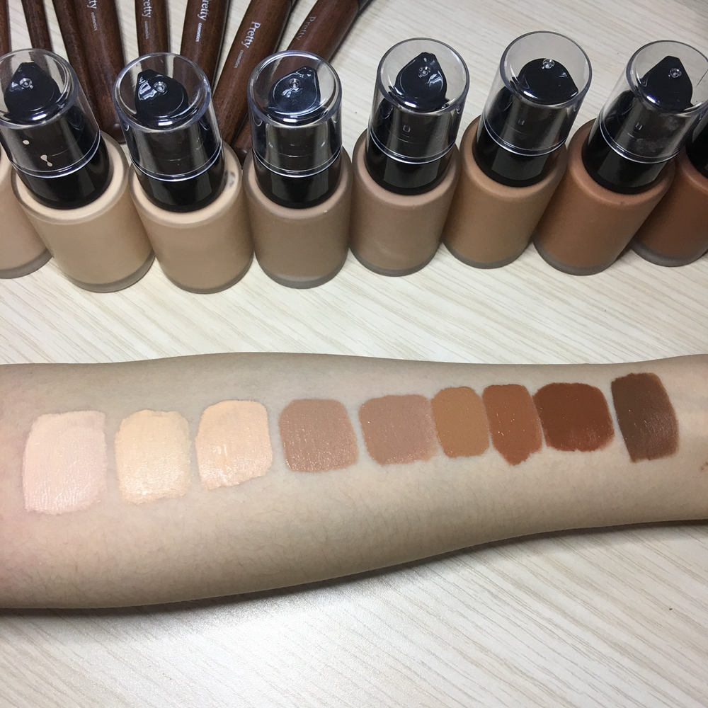 Hotsalling  Private Label 12Colors Natural Full Coverage Longlasting Matte Liquid Foundation For Oily Skin