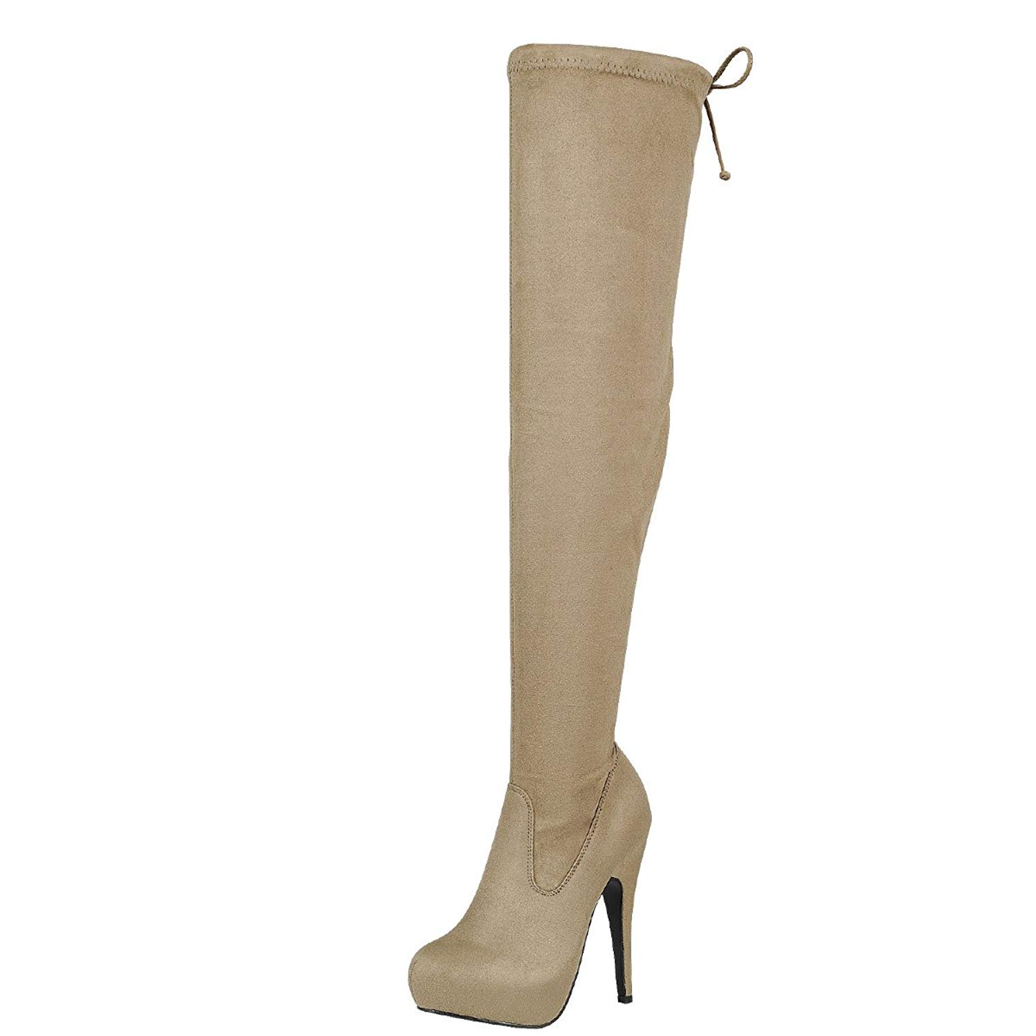 Forever Link Womens Almond Toe Lace up Drawstring Tie Over The Knee  Stiletto Platform Boots 4b1fcbccb