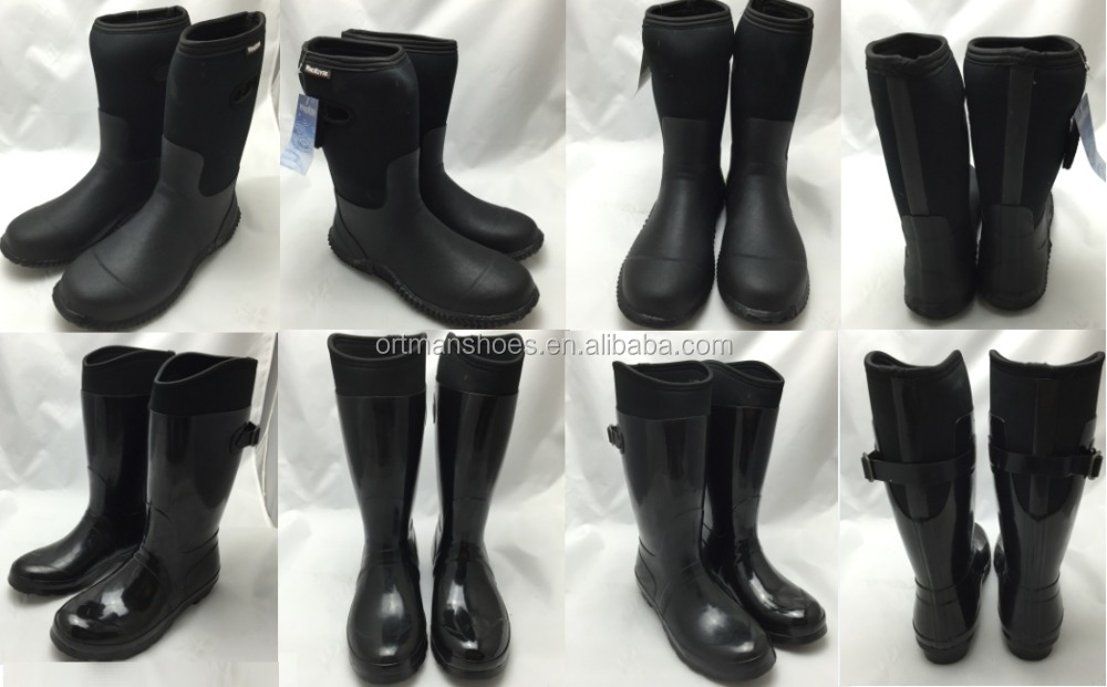 Army Neoprene Boots and Safety Boots pvc gum boots without steel toe,wellington boots,rain shoes (Black Color )