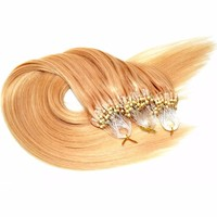 Brazilian virgin human hair natural blond micro loop ring bead human hair extension wholesale price no MOQ