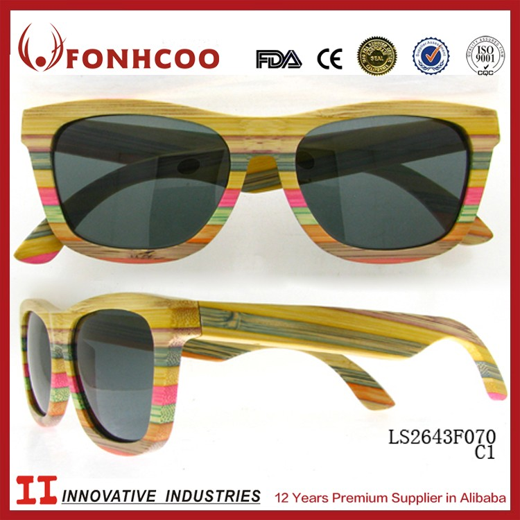 FONHCOO Small MOQ Custom Logo Hand Made Fashion Hot Sale Online Wooden Sunglases