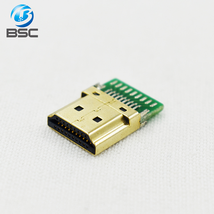 Gold plated Type A HDMI male plug charging port connector 19Pins with PCB Board