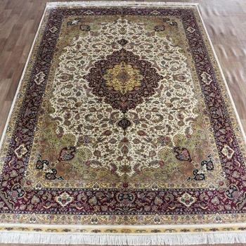 Handmade 100 silk area rug all-over floral turkish modern oriental carpet persian rugs carpets