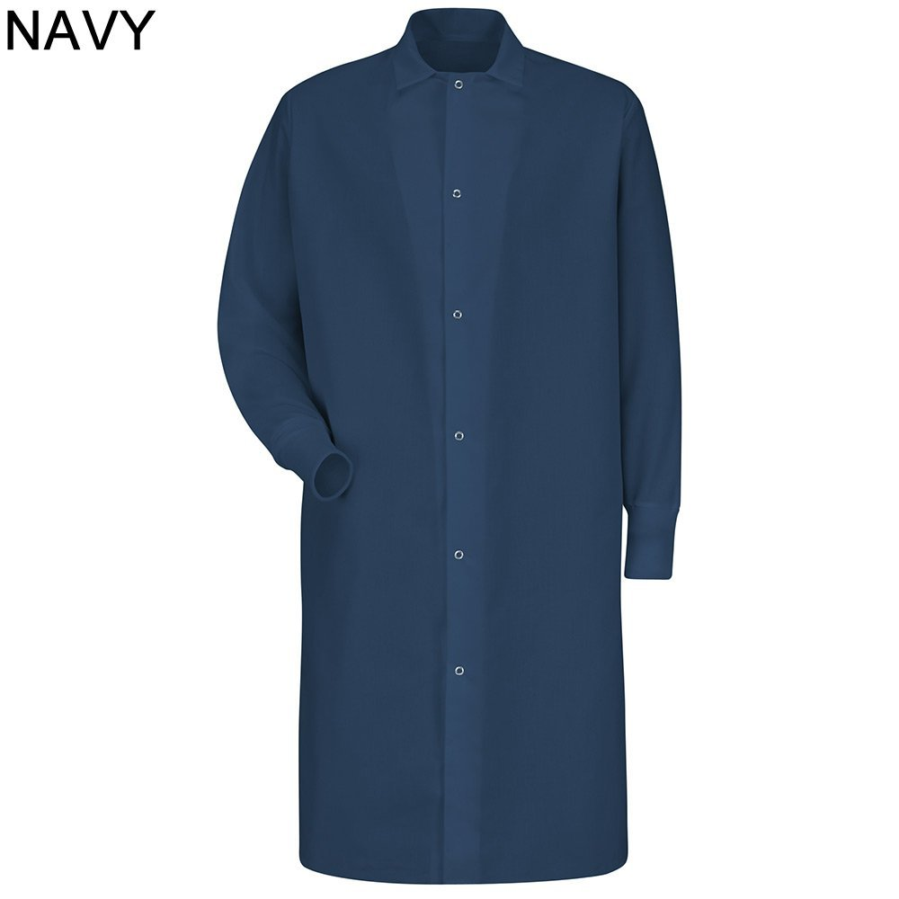 Red Kap Men's Gripper Front Spun Polyester Pocketless Butcher Coat With Knit Cuffs Navy (Large)