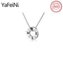 New design engraved N S W E letters circle pendant necklace , wholesale 925 sterling silver tiny initial pendant necklaces