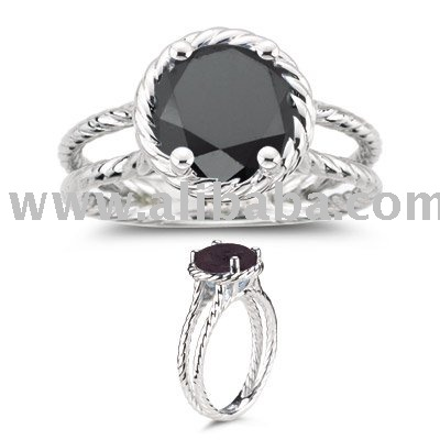 schwarzer diamant ring im wei en gold 14k goldene schmuckwaren produkt id 110470670 german. Black Bedroom Furniture Sets. Home Design Ideas