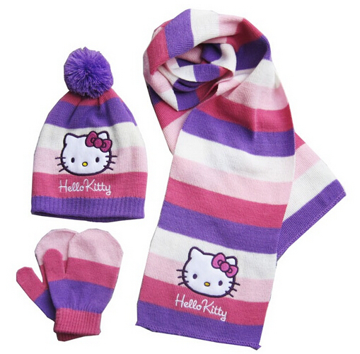 d420efb6a Get Quotations · 2015 new winter fashion brand hello Kitty girls hats  scarves gloves warm cold sets, free