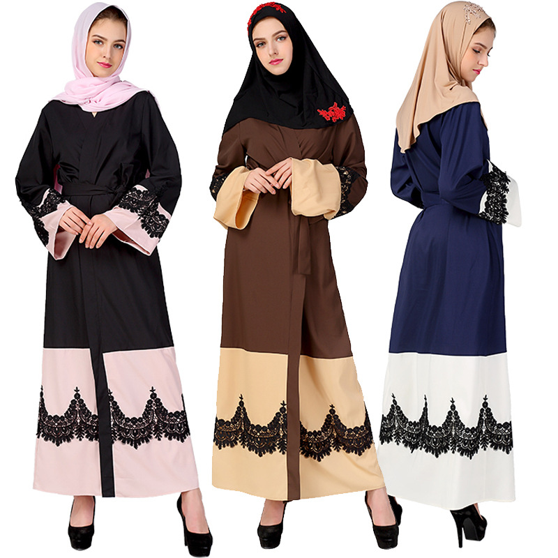 2018 Latest abaya designs front open abaya polyester fabric with lace splicing women abaya dress