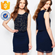 Double Layer Embellished Dress With Split Back Navy Summer Clothing Manufacture Wholesale Fashion Women Apparel (TF0567D)