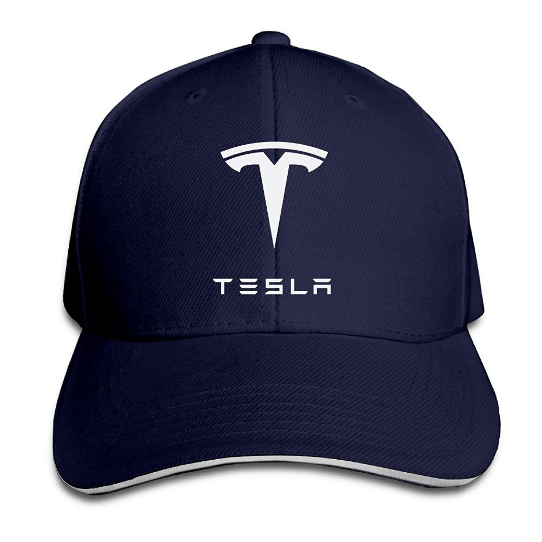 1e96a952d81 Get Quotations · Bro-Custom Simple Tesla Motors Sandwich Flex Fit Hat  Baseball Cap Black
