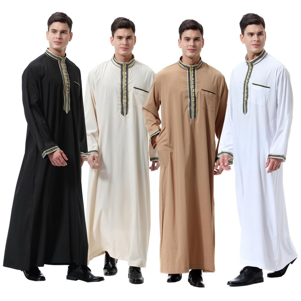 Muslim man abaya stand collar turkish Caftan robes islamic clothing dubai arab summer wear plus size,top quality