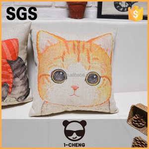 Novely home living room sofa cushion with yellow color cat pattern design