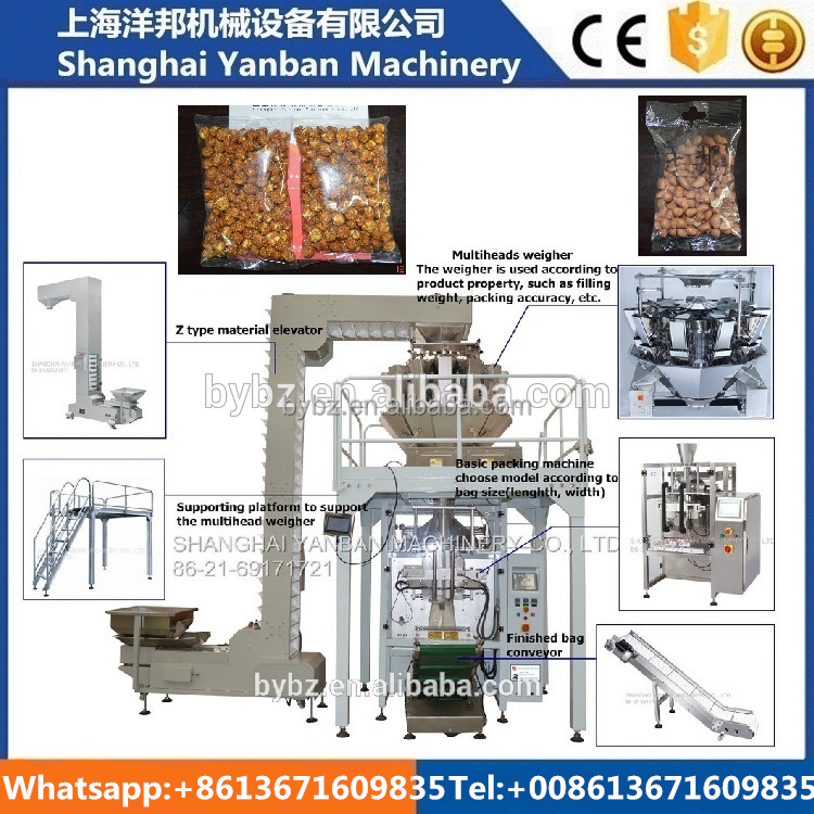 Shanghai Fully automatic packing system YB-420Z multihead weigher cashew nuts packing machine