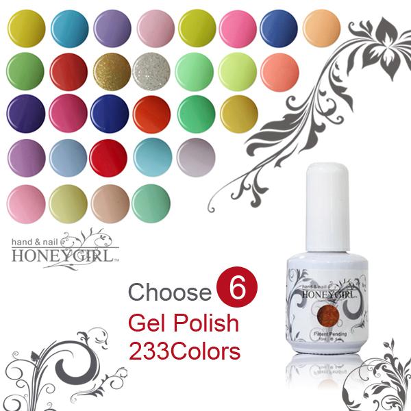 6pcs 15ML 233 color gel nails polish accept wholesale gel nails