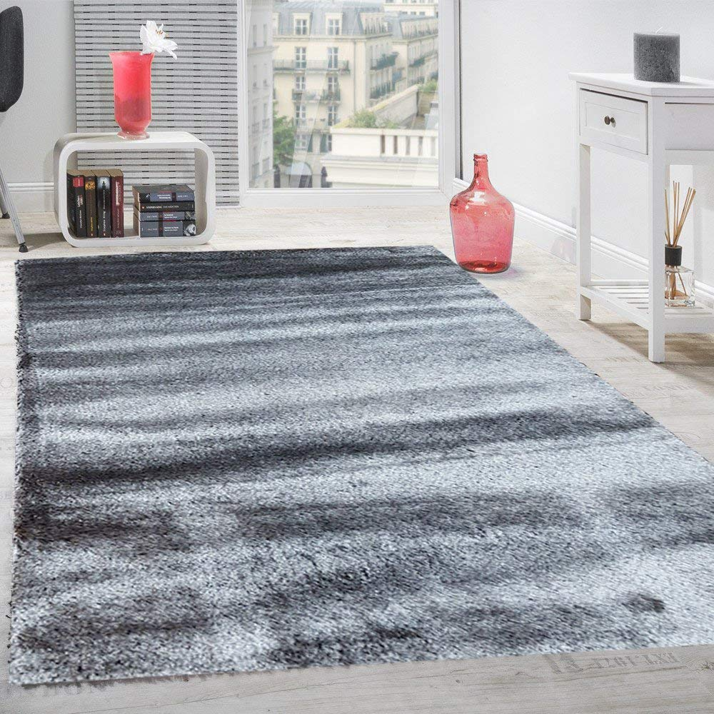 Gloria Rug Super Soft Indoor Modern Shag Rug Silky Smooth Rugs Fluffy Shaggy Area Rug - Stain Resistant Dining Room Home Bedroom Living Room Carpet (3 x 5, Solid Gray)