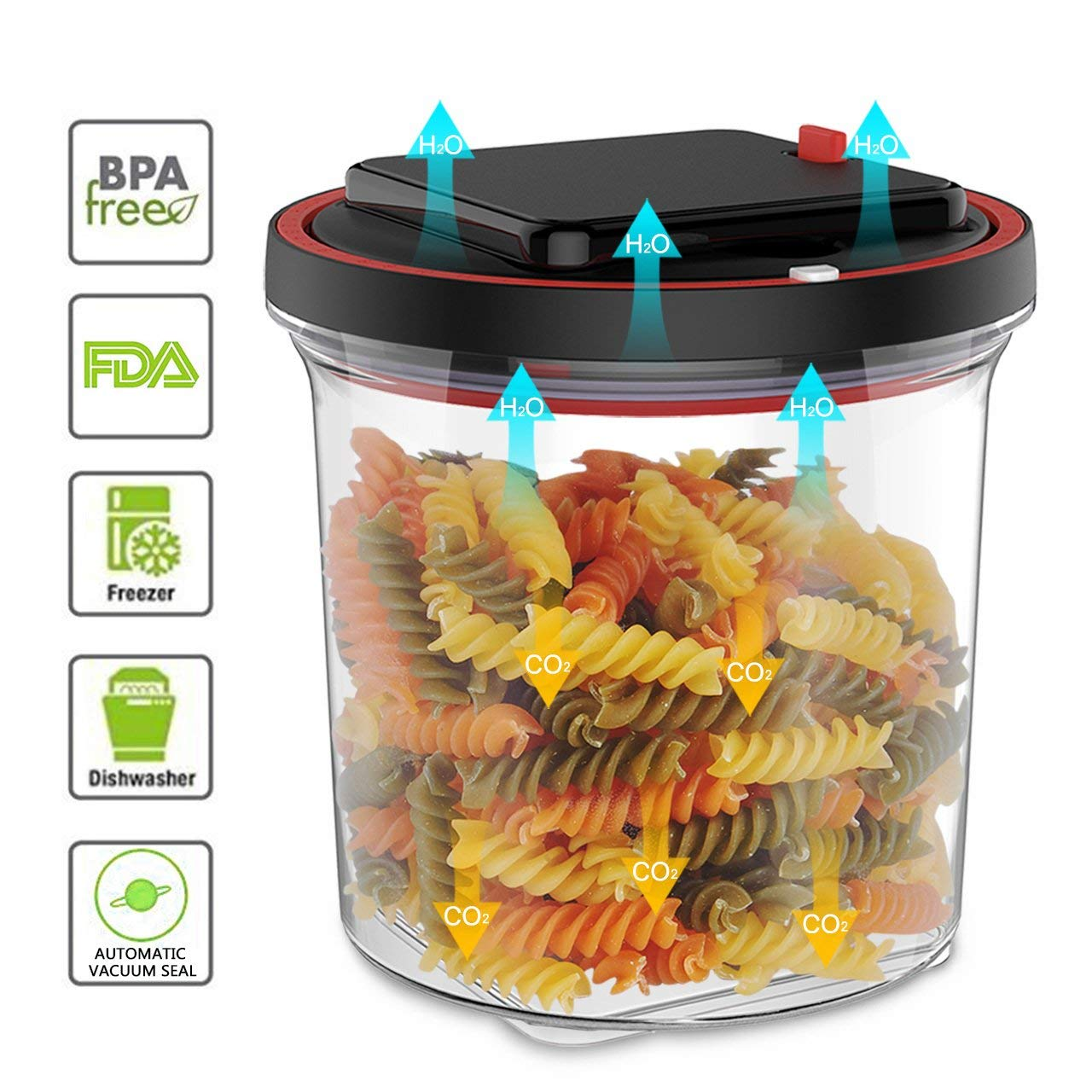 Get Quotations · Automatic Vacuum Seal Food Storage Container   Airtight  Vacuum Sealed Storage Built In One Way