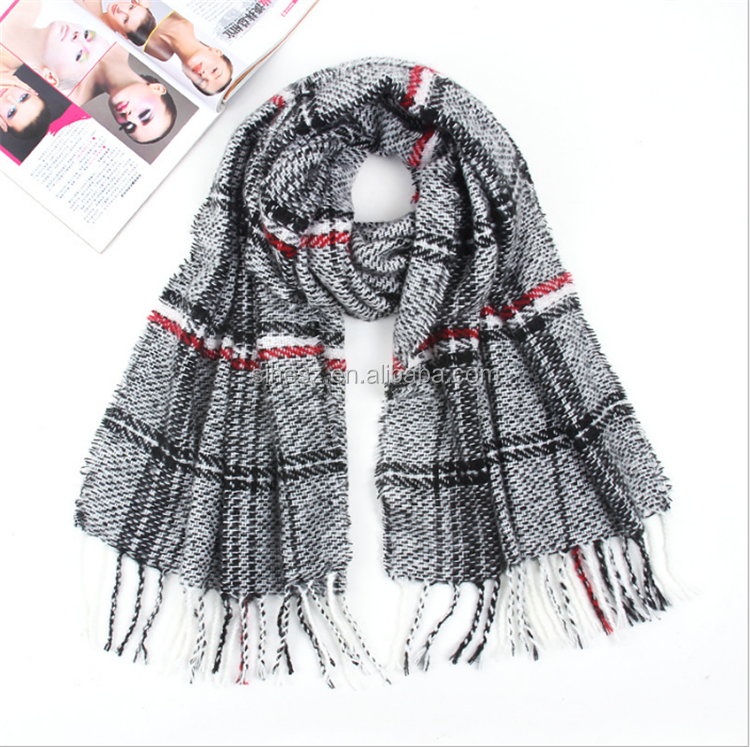 Fashional lady winter tartan plaid knitted poncho scarf reasonable price