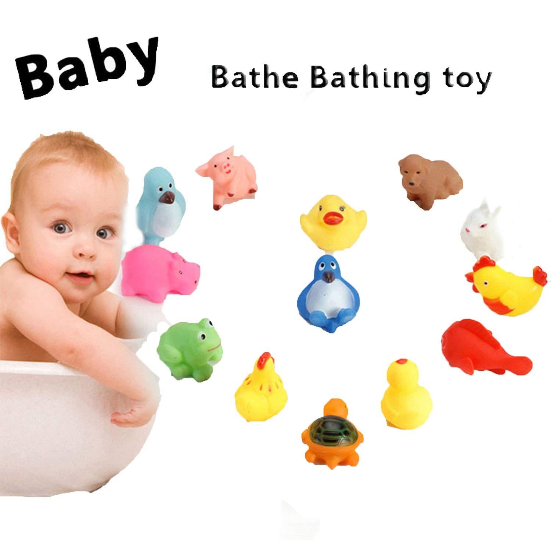 Qenci New Kids Animals Toys Soft Vinyl Float Sqeeze Sound Baby Wash Bath Play Toys (10 Pcs)