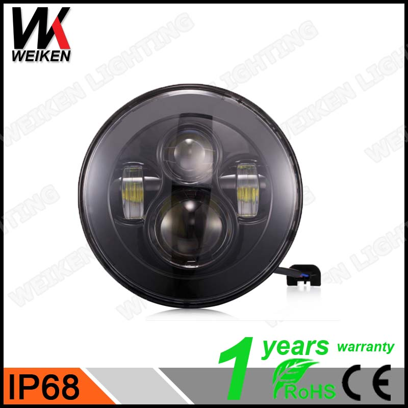 7inch LED Headlight For Jeep Wrangler Without angel eyes No Halo Rings black lights