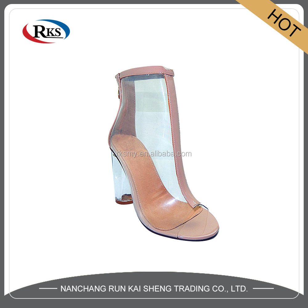 pvc transparent women shoes heels sandals