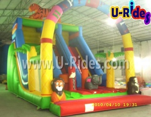 Agent price Zoo theme animal Inflatable double slide inflatable bouncy castle with water slide for kids