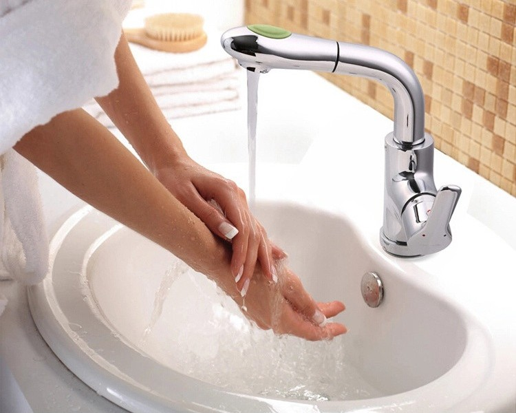 JOMOO Pull-out Deck-mounted Single Handle Basin Faucet Water Mixer