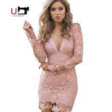 Long Sleeve Deep V Neck Lace Backless Bowknot Sexy Dress Party Prom Wholesale
