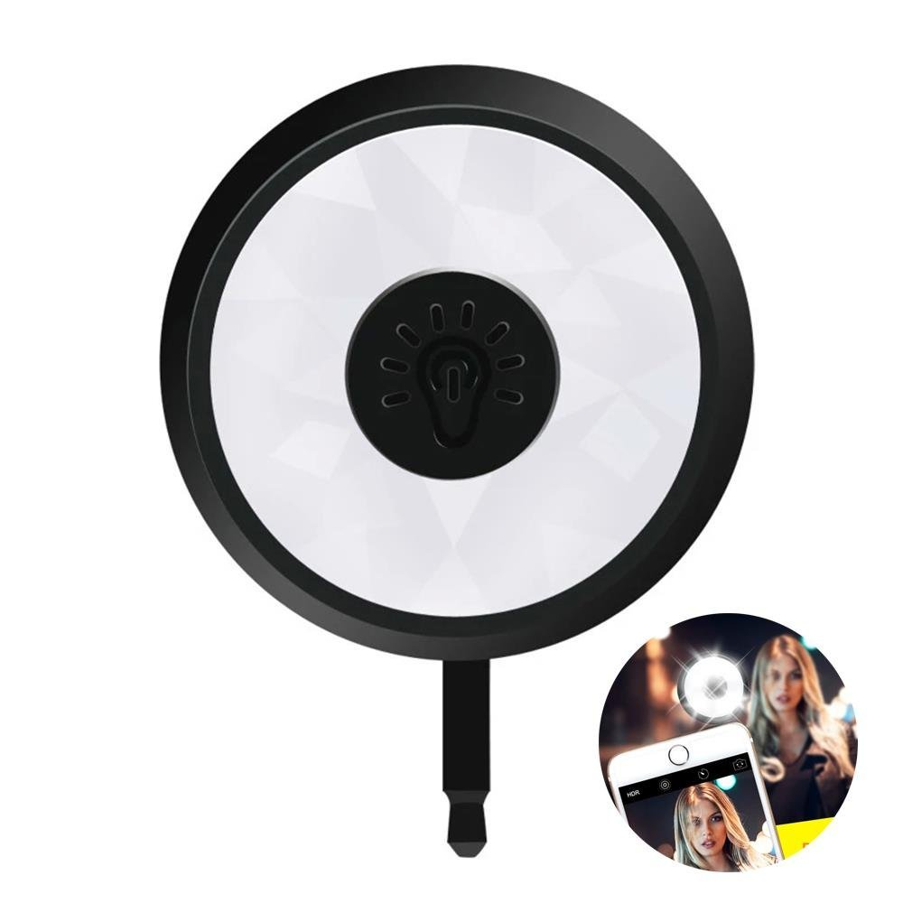 Selfie, Cellaria Glow Pro Series - 8 LED Selfie Ring Light Smartphone Fill-light Pocket Spotlight Photo Video Light Lamp for iPhone, Samsung, HTC, Nokia, iPad, Cellphone, Tablets, Black