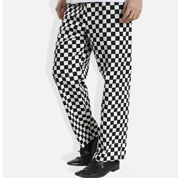 8b69d1eff1f5 Черный/белый Checker форма повара ресторана брюки-Униформа для ...