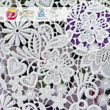 FREE SAMPLE new fancy design chemical 3D lace fabric,white wedding embroidery lace fabric, african guipure lace fabric