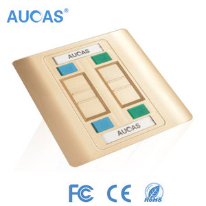 Hot sale Aucas brand wall face plate rj45 network keystone jack faceplate comply with RoHS CE FCC standards 1 2 4 ports