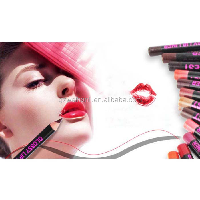Private label lip liner pen OEM available Long-lasting lip beauty12 color