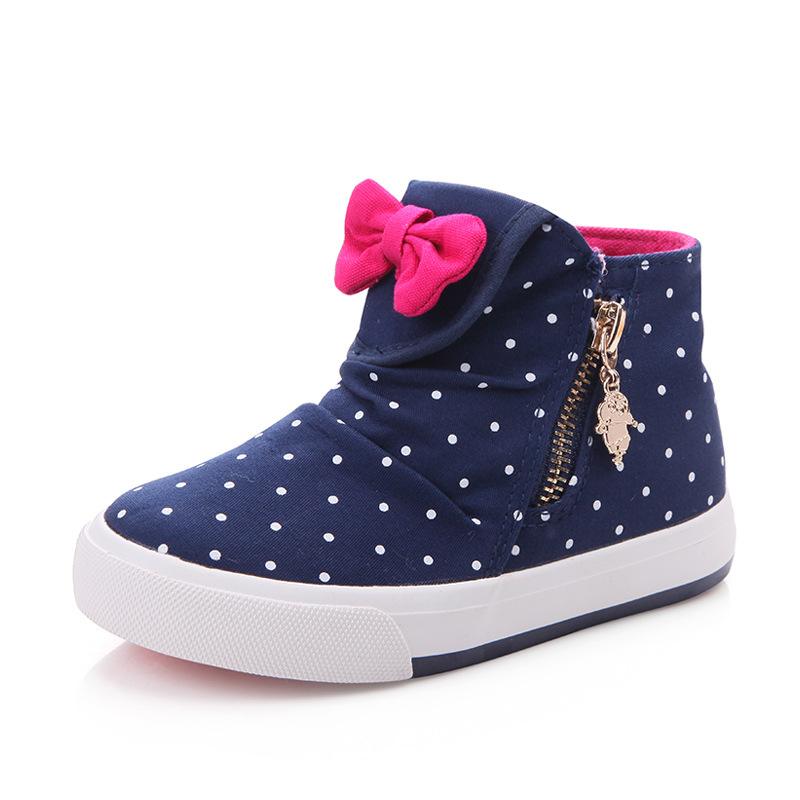 2016 Children High top Canvas Shoes Cute Bow Casual Kids