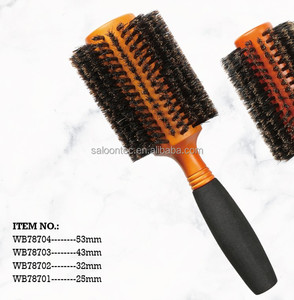 Bristle Round Hair Brush with Natural Soft Boar Bristle, Volumizing and Detangling Wooden Barrel Brush, Thick or Curly Hair