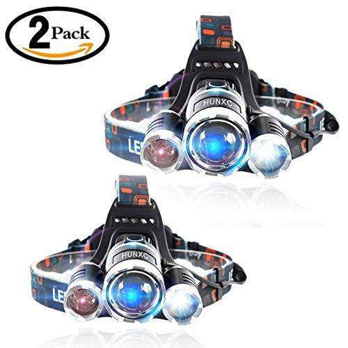 Brightest LED Headlamp 8000 Lumen flashlight - IMPROVED LED, Rechargeable 18650 headlight flashlights, Waterproof Hard Hat Light, Lumen Bright Head Lights, Running or Camping headlamps(2 Pack)