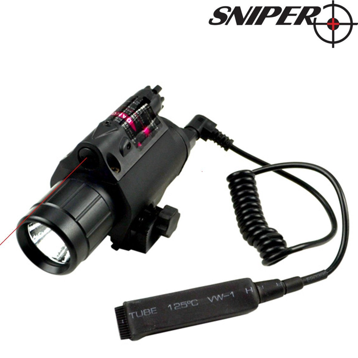 Sniper® FLRL01 Tactical LED Flashlight with Intergrated Red Dot Laser . CREE XR-E Q5 LED, 200 lumen Max. Output, Integrated Mount Deck, 2xCR123A Batteries and Pressure Switch Included.