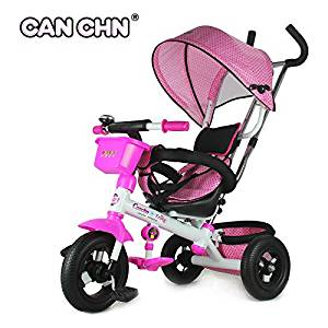 dd00fd04ffb Get Quotations · CANCHN Children Tricycle, PVC wheels baby tricycle with  pushbar, High Carbon Frame Kids Tricycle