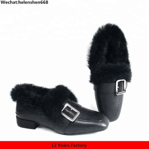 Buckle plush fur Loafers Women Genuine Leather Flat Heel Ladies Flats Spring Autumn Winter Casual Shoes with Box