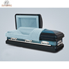 Inexpensive American style adult used spruce blue finish metal coffin bier casket
