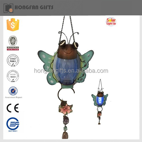hot sell cute metal hanging light insect for garden ornament