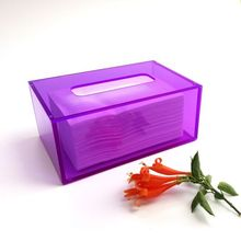 Plastic <span class=keywords><strong>Auto</strong></span> Tissues Case Rechthoekige Perspex Tissue Box Covers Paars Acryl Hotel Tissues Doos