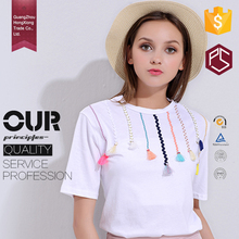 GuangZhou factory OEM high quality round neck short sleeve white 100% cotton new model fashion women t shirt