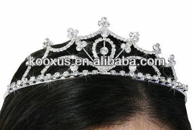 fashion clear rhinestone heart shape tiaras crowns suitable for wedding,pageants